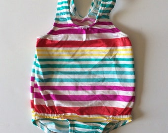 1980's Carters Shiny Striped Bathing Suit (9/12 months)
