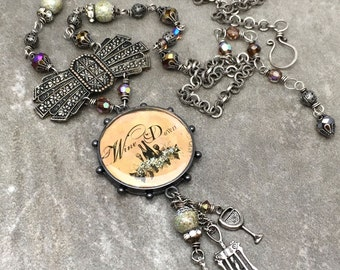 Unique Assemblage Necklace - Mixed Media Necklace - Wine Charm Necklace - Long Necklace - OOAK One of a Kind Jewelry