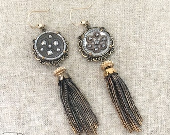 Vintage Assemblage Tassel Earrings - Cut Steel Button Tassel Dangle Earrings - Unique One of a Kind OOAK Earrings