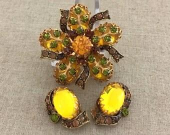 Vintage Rhinestone Brooch Earrings Set - Designer SELINI Rhinestone Set - Glowing Yellow Rhinestones - Topaz Rhinestone - Fall Jewelry