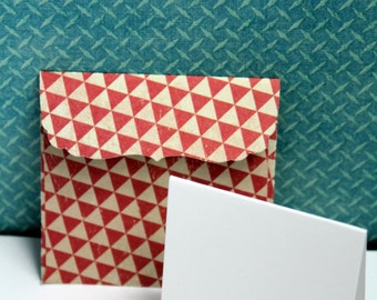 """TRIANGLES Tiny designer series handmade  envelopes (2 3/4 square, includes  6 blank note cards 2"""" x 2"""""""