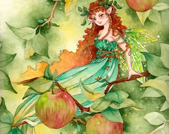 "Fairy Art Print, ""McIntosh"", Apple Tree Faerie Art"