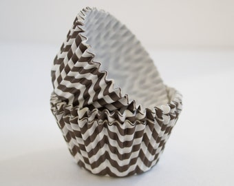 Brown Chevron cupcake liners (approx 40 ct) - New THICKER style! - Whimsical baking muffin cups greaseproof bulk cupcake papers