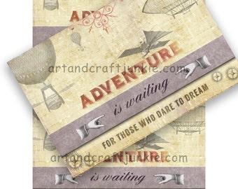 "Printable Collage Sheet Postcards Steampunk Travel 4"" x 6"""