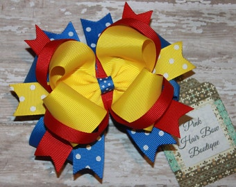Red yellow and blue hair bow , primary colors hair bow , school hair bow , photo prop , princess hair bow , hair bows for girls , 5 inch bow