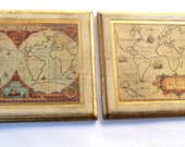 Vintage Italian Florentine Map Wall Plaques /Pictures Of Old World Maps /Gold Gilt Decorative Map Prints