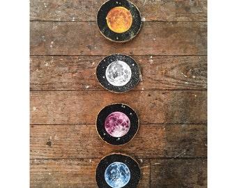 Seasonal Moon Paintings on Wood - Mystic Magnets or Wall Hangings