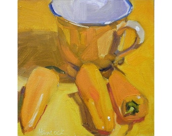 Yellow Cup and Yellow Peppers on Yellow Tabletop- painting of yellows - art for your kitchen