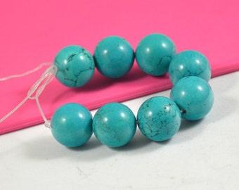 8Beads Large Round Turquoise Beads 16mm Gemstone Beads  Charm Loose Turquoise Bead