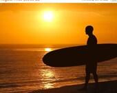 SALE 20% OFF Surfer at Sunset Silhouette Photograph California Dreamin' Beach Photography Color Sun Home Decor Boho Yellow Orange Summer  8X