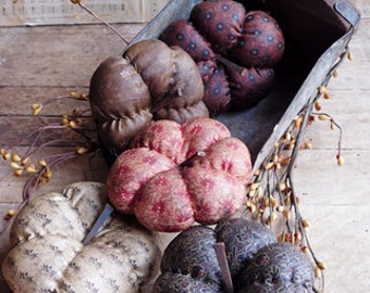 Handmade Primitive Pumpkins Bowl Fillers, Folk Art Harvest Halloween Decoration