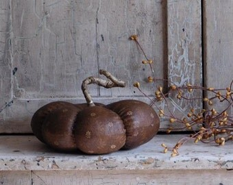Fall Harvest Pumpkin Gourd, Gold, Mustard, Handmade Stained and Aged Fabric Pumpkins
