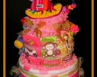 Girl Safari Diaper Cake - Very Cute Hippo Ballerina Doll Topper - Lots of Baby Items!