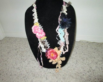 Colorful Pansy vintage laces necklace with beaded lace