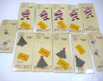 Vintage Christmas Embroidery Appliques, Small Santa Claus, Christmas Tree, Candy Canes - Wrights Sew On Patches, 11 Original Packages
