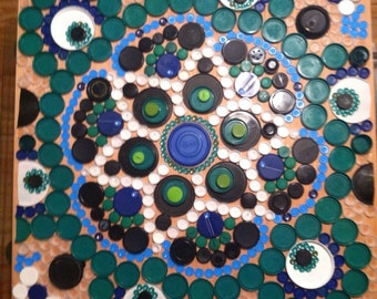 Mandala recycled art upcycled plastic lids