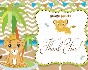 Lion king Thank You Card- Nala Lion King-Baby shower- Birthday