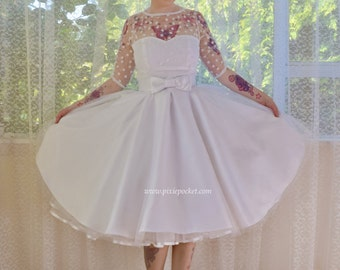 "1950's ""Anita"" Polka Dot Wedding Dress with Sweetheart Neckline, Tulle Extra Full Circle Skirt and Petticoat - Custom made to fit"