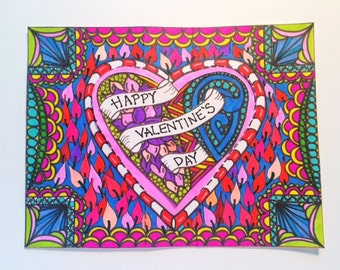 Downloadable Color Your Own - Valentine's Day Card