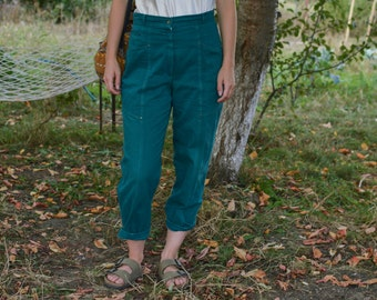 Emerald green high waisted pants Denim Pants vintage 90's mom jeans green jeans