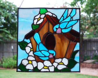Blue Birds Stained Glass Small Panel