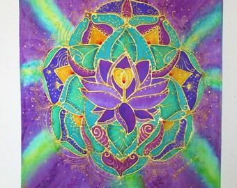 Lotus mandala silk wall hanging, The Light Within, silk wall hanging, spiritual art,meditation art,lotus art, reiki art,mandala art,yoga art