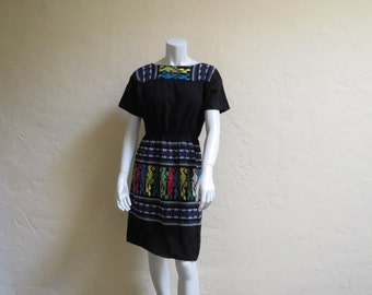 Vintage 70s Colorful Boho Hippie Mexican Woven Cotton Dress