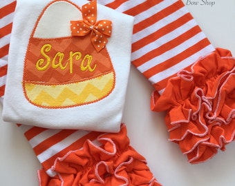 Candy Corn Bodysuit or Shirt -- Baby Girl bodysuit or shirt for Halloween - Candy Corn Sweetie - yellow and orange chevron