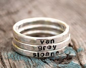 Silver Stacking Name Ring. Argentium Silver .935 Personalized with Your Choice of Names or Words.  All Lowercase Letters.