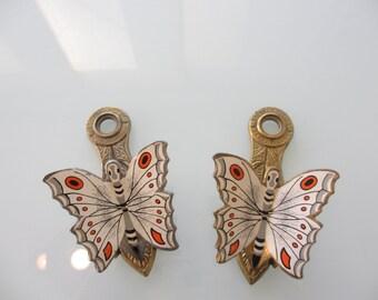 Vintage Brass Butterfly Glove Clips