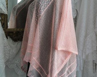 Lace sheer peach top, romantic, gypsy boho
