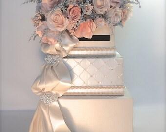 Ivory Peach Wedding Card Holder Wedding Card Box Secure Lock Silver Three Tier