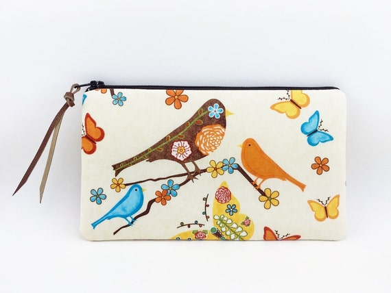 Birds Zipper Pouch, Small Clutch, Accessory Bag, Notions Pouch, Gadget Case, Gift idea, Padded