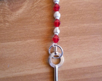 White Hot - red glass and white silver hairstick with handcuff key