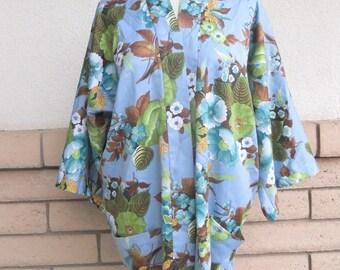 Vintage 60s 70s Kimono Top Floral Print Wrap Asian Tunic M-L