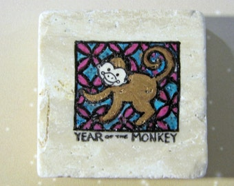 Year of the Monkey...Chinese zodiac star sign..new year natural stone magnet 2x2..cute gift favors red blue