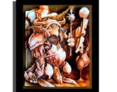 SALE- Goblins of Labyrinth Illustration Sculpture - First in a Series - 8x10x3 Shadowbox Framed - Free Shipping