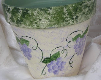 Grapes and Ivy Hand painted Clay Pot