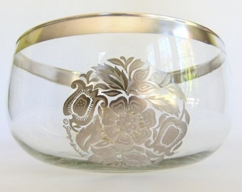 Large Vintage George Briard Glass and Silver Bowl - Serving, Punch, Salad Persian Garden, Floral, Flower, Excellent Condition, Mid Century