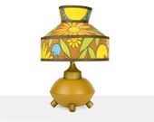 table lamp, flower power, groovy, 60s, bedside lamp, accent lamp, harvest gold, bakelite plug, fun, unique, kitsch, robins egg blue, green