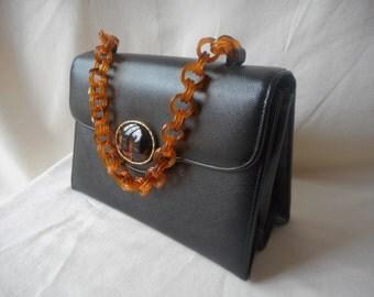 SHELDON original vintage 60s fancy black leather handbag with tortoise handle