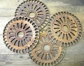 RESERVED Lot of 4 Rusty Old Farm Salvage Seeder Planter Discs RESERVED
