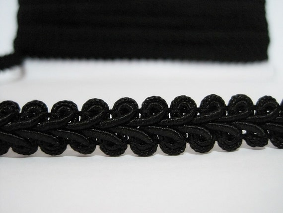 "5 Yards 1/2"" Black Gimp Braided Trim, Gimp Braid, Braided Cord, Braided Gimp Trim, Scroll Braid Trim, Black braided trim, Black Trim, black"