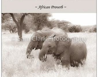 Elephant Fridge magnet, Inspirational quote, inspirational magnet, Elephant photo, animal, Africa
