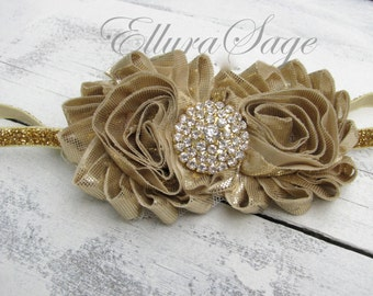 Gold Headband, Gold Baby Headband, Gold Glitter Headband, Holiday Headband, Bling Headband, Gold Rosette Headband, Gold crown headband -