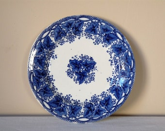 Vintage French collectible plate -  Gien plate with blue flowers