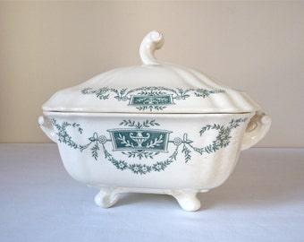 French Tureen Early XXth century  French Antique Tureen Longchamp green decor - french transferware - French Ironstone