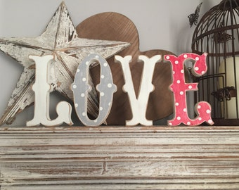 Wooden Wedding Letters 'LOVE' - 15cm - Circus Style Font, Carnival, Standing