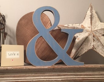 Hand-painted Wooden Letter & - Freestanding - Georgian Font - Various sizes, finishes and colours