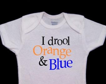 I drool Orange and Blue Funny Baby Onesie Bodysuit